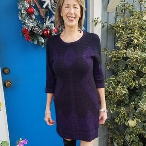 Black and purple knit sweaterdress